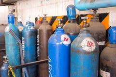 Gasstahlsammelbehälter für das Schweißen Stockfotografie