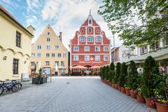Gasthof Zum Schwanen施瓦本行政区梅明根德国 免版税图库摄影