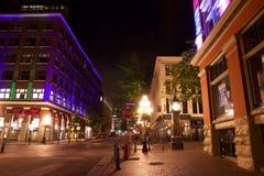 Gastown在晚上,温哥华,不列颠哥伦比亚省,加拿大 库存照片