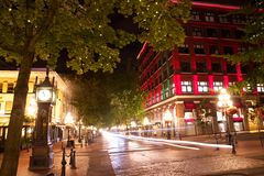 Gastown bij nacht, Vancouver, Brits Colombia, Canada Stock Foto