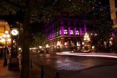 Gastown la nuit, Vancouver, Colombie-Britannique, Canada Images libres de droits