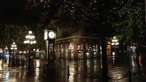 Gastown-Nacht Steamclock Vancouver stock video footage