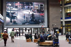 Gastown Riots photograph by Stan Douglas. Over-sized photograph depicting the Gastown Riots of 1971 in Vancouver opposed by Vancouver police heavy-handed tactics Stock Photo