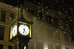 Gastown Steam Clock Night, Vancouver Royalty Free Stock Image