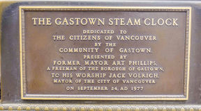 Gastown Steam Clock sign in Vancouver - VANCOUVER - CANADA - APRIL 12, 2017 stock photo