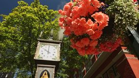 Gastown Steam Clock, Vancouver. The Gastown steam clock is in the heart of Vancouver's best known tourist area. Gastown is in downtown Vancouver and is an area stock footage