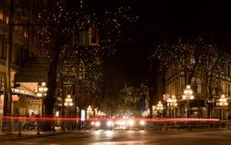 Gastown, Vancouver alla notte Fotografia Stock Libera da Diritti