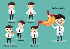 Gastro-Esophageal Reflux Disease GERD. Businessman suffering from stomach painful or Acid Reflux or Heartburn, Gas, Bloating, Belching and flatulence. Caused by vector illustration