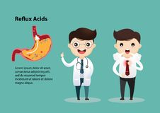 Gastro-Esophageal Reflux Disease GERD. Businessman suffering from stomach painful or Acid Reflux or Heartburn, Gas, Bloating, Belching and flatulence. Caused by stock illustration