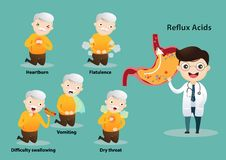 Gastro-Esophageal Reflux Disease GERD. Old man suffering from stomach painful or Acid Reflux or Heartburn, Gas, Bloating, Belching and flatulence. Caused by royalty free illustration