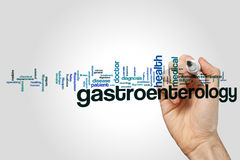 Gastroenterology word cloud. Concept on grey background stock photo