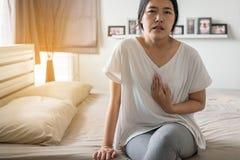 Gastroesophageal reflux ασθένεια, γυναίκα που έχουν ή συμπτωματικά reflux οξέα, επειδή esophageal sphincter που χωρίζει το esoph Στοκ φωτογραφίες με δικαίωμα ελεύθερης χρήσης