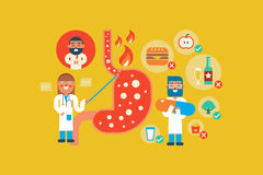 Gastroesophageal reflux disease. Illustration of Gastroesophageal reflux disease  flat design concept with icons elements Stock Photos
