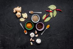 Gastronomi som är kulinarisk Hemligheter av smaklig disk Krydda och kryddor på svart utrymme för kopia för bästa sikt för bakgrun Royaltyfri Foto