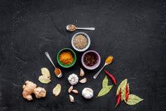 Gastronomi som är kulinarisk Hemligheter av smaklig disk Krydda och kryddor på svart utrymme för kopia för bästa sikt för bakgrun Arkivfoto