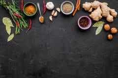 Gastronomi som är kulinarisk Hemligheter av smaklig disk Krydda och kryddor Rosmarin ingefära, chilipeppar på svart bakgrund Arkivbild