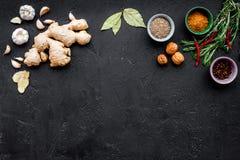Gastronomi som är kulinarisk Hemligheter av smaklig disk Krydda och kryddor Rosmarin ingefära, chilipeppar på svart bakgrund Royaltyfria Foton