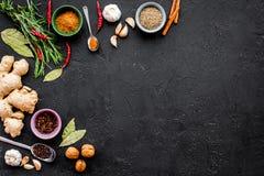 Gastronomi som är kulinarisk Hemligheter av smaklig disk Krydda och kryddor Rosmarin ingefära, chilipeppar på svart bakgrund Royaltyfri Foto