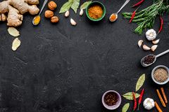 Gastronomi som är kulinarisk Hemligheter av smaklig disk Krydda och kryddor Rosmarin ingefära, chilipeppar på svart bakgrund Royaltyfri Bild