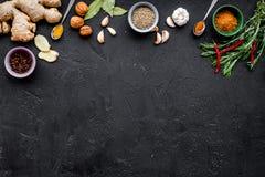 Gastronomi som är kulinarisk Hemligheter av smaklig disk Krydda och kryddor Rosmarin ingefära, chilipeppar på svart bakgrund Arkivbilder