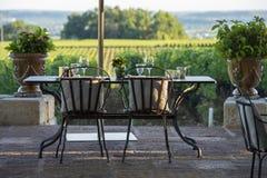 Gastronomia-restaurante - luxo - terraço no verão - vinhedo foto de stock royalty free