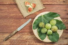Gastronomic composition with figs royalty free stock photography