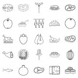 Gastronomic hobby icons set, outline style. Gastronomic hobby icons set. Outline set of 25 gastronomic hobby vector icons for web isolated on white background Stock Image