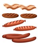 Gastronomic meat products in cartoon style. Vector icons steak , barbecue, lamb, chops, bacon, chorizo, sausage, chicken wings, ch. Icken legs ham salami and stock illustration