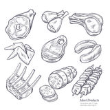 Gastronomic Meat Products Sketches. Set in retro style on white background vector  illustration Royalty Free Stock Photo