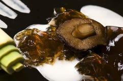 Gastronomie moléculaire - soupe à champignons photographie stock