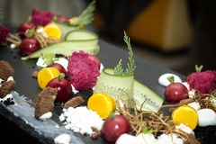 Gastronomisch buffet met moleculaire keuken stock foto
