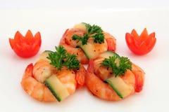 Gastronomisch Chinees voedsel - de geroosterde garnalen van de koningstijger op wit Stock Afbeelding