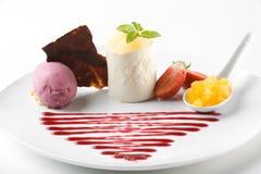 Gastronomisch dessert stock afbeelding