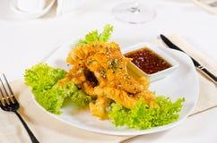 Gastronomisch Fried Chicken Meat met Hete Onderdompeling royalty-vrije stock fotografie