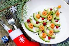 Gastronomisch Kerstmisvoorgerecht - de zalmcarpaccio van de Kerstboomavocado stock afbeeldingen
