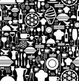 Gastronomisch pictogram vastgesteld patroon Stock Foto's