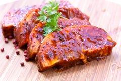 Gastronomisch - varken-ruwe plakken van het zogen stock foto