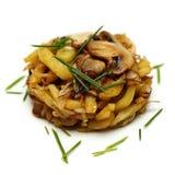 Gastronomisch versier - aardappel en paddestoel royalty-vrije stock afbeeldingen
