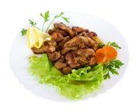 Gastronomisch voedsel met salade Royalty-vrije Stock Afbeeldingen