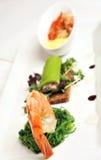 Gastronomisch voorgerecht, garnalen/garnaal Stock Foto's