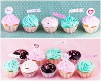 Gastronomische cupcakes met harten Royalty-vrije Stock Foto