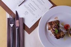 Gastronomische cursus in een restaurant royalty-vrije stock foto