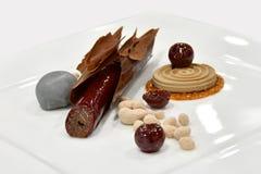 Gastronomische Dessert Koude Vertoning: Chocoladeschors stock fotografie