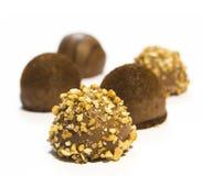 Gastronomische geïsoleerde chocoladepraline - Stock Fotografie