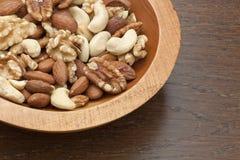 Gastronomische geassorteerde noten Stock Foto's