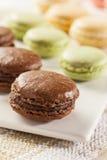 Gastronomische Gekleurde Makaronkoekjes Stock Afbeeldingen