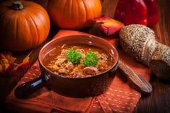 Gastronomische hartelijke goelasjsoep Royalty-vrije Stock Foto