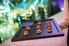 Gastronomische Heerlijke Schotels en Voedselcatering (Fusiekeuken) Royalty-vrije Stock Fotografie
