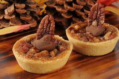 Gastronomische het desserttaartjes van de pecannootpastei Stock Foto's