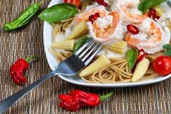 Gastronomische romige Garnalendeegwaren Royalty-vrije Stock Foto